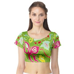 Green Organic Abstract Short Sleeve Crop Top (tight Fit)