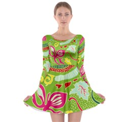 Green Organic Abstract Long Sleeve Skater Dress