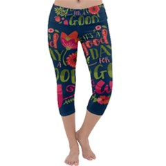 C mon Get Happy With A Bright Floral Themed Print Capri Yoga Leggings