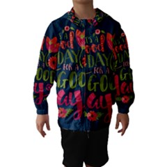 C mon Get Happy With A Bright Floral Themed Print Hooded Wind Breaker (Kids)