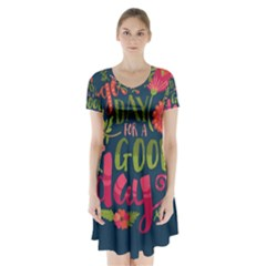 C mon Get Happy With A Bright Floral Themed Print Short Sleeve V-neck Flare Dress
