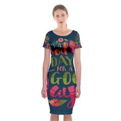 C mon Get Happy With A Bright Floral Themed Print Classic Short Sleeve Midi Dress
