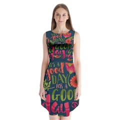 C mon Get Happy With A Bright Floral Themed Print Sleeveless Chiffon Dress
