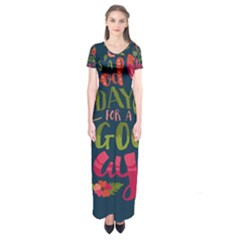C mon Get Happy With A Bright Floral Themed Print Short Sleeve Maxi Dress