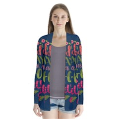 C mon Get Happy With A Bright Floral Themed Print Drape Collar Cardigan