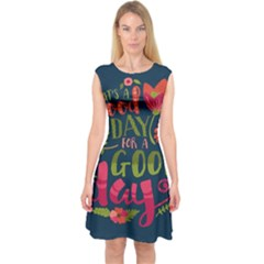 C mon Get Happy With A Bright Floral Themed Print Capsleeve Midi Dress