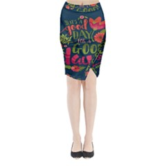 C mon Get Happy With A Bright Floral Themed Print Midi Wrap Pencil Skirt