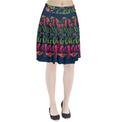 C mon Get Happy With A Bright Floral Themed Print Pleated Skirt
