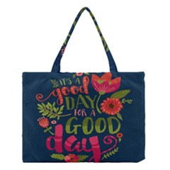 C mon Get Happy With A Bright Floral Themed Print Medium Tote Bag