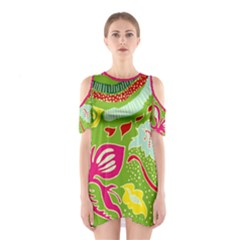 Green Organic Abstract Women s Cutout Shoulder One Piece