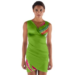Green Organic Abstract Wrap Front Bodycon Dress