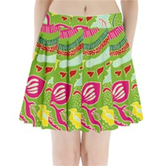Green Organic Abstract Pleated Mini Skirt