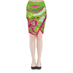 Green Organic Abstract Midi Wrap Pencil Skirt