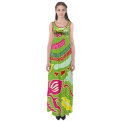 Green Organic Abstract Empire Waist Maxi Dress