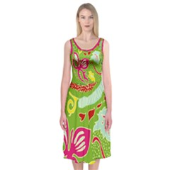 Green Organic Abstract Midi Sleeveless Dress