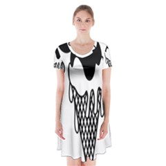 Blackandwhite Mickey Icecream Short Sleeve V-neck Flare Dress