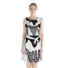 Blackandwhite Mickey Icecream Sleeveless Chiffon Waist Tie Dress