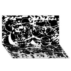 Black and white confusion Twin Hearts 3D Greeting Card (8x4)