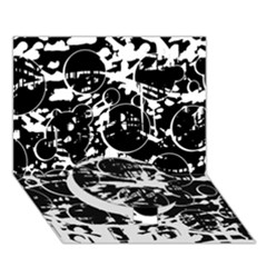 Black And White Confusion Circle Bottom 3d Greeting Card (7x5)