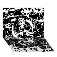 Black and white confusion Peace Sign 3D Greeting Card (7x5)