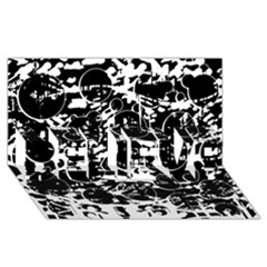 Black and white confusion BELIEVE 3D Greeting Card (8x4)