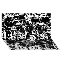 Black and white confusion ENGAGED 3D Greeting Card (8x4)