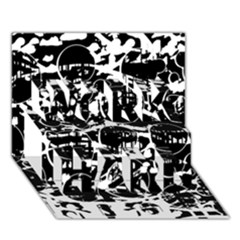 Black and white confusion WORK HARD 3D Greeting Card (7x5)