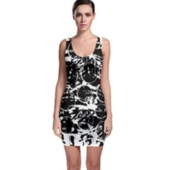 Black and white confusion Sleeveless Bodycon Dress