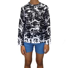 Black and white confusion Kids  Long Sleeve Swimwear