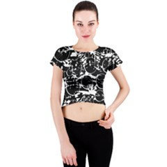 Black and white confusion Crew Neck Crop Top