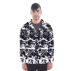 Black and white confusion Hooded Wind Breaker (Men)