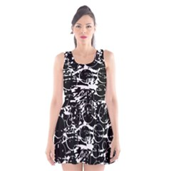 Black and white confusion Scoop Neck Skater Dress