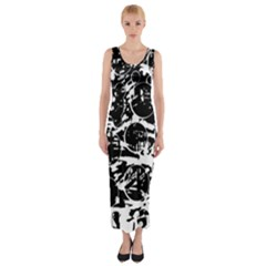 Black and white confusion Fitted Maxi Dress