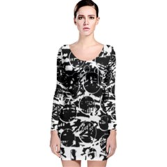 Black and white confusion Long Sleeve Velvet Bodycon Dress