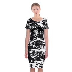 Black And White Confusion Classic Short Sleeve Midi Dress