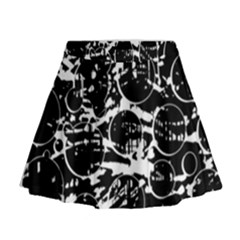 Black and white confusion Mini Flare Skirt