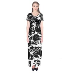 Black and white confusion Short Sleeve Maxi Dress