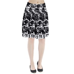 Black and white confusion Pleated Skirt