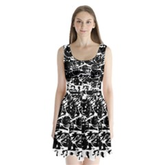 Black and white confusion Split Back Mini Dress
