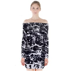 Black and white confusion Long Sleeve Off Shoulder Dress