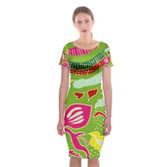 Green Organic Abstract Classic Short Sleeve Midi Dress