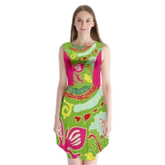 Green Organic Abstract Sleeveless Chiffon Dress