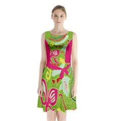 Green Organic Abstract Sleeveless Chiffon Waist Tie Dress