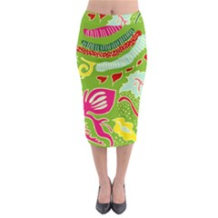 Green Organic Abstract Midi Pencil Skirt