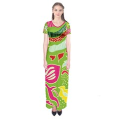 Green Organic Abstract Short Sleeve Maxi Dress