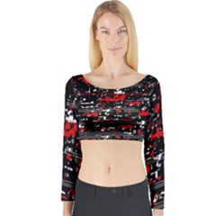 Red symphony Long Sleeve Crop Top