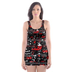Red symphony Skater Dress Swimsuit
