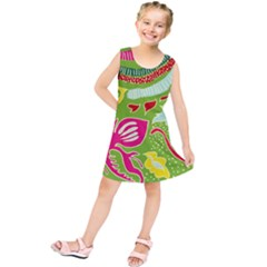 Green Organic Abstract Kids  Tunic Dress