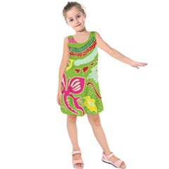 Green Organic Abstract Kids  Sleeveless Dress