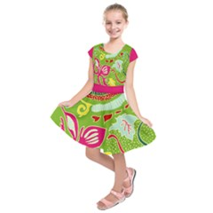 Green Organic Abstract Kids  Short Sleeve Dress
